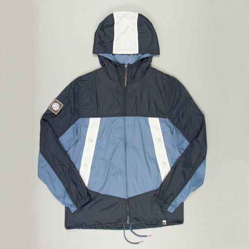 Colour Block Hooded Jacket in BLUEPRETTY GREEN - CACTWS