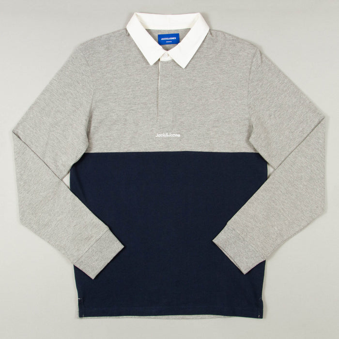 Rugby Polo Long Sleeve in LIGHT GREY MELANGEJACK & JONES - CACTWS