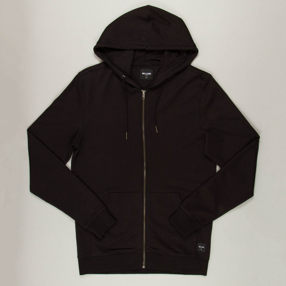 Basic Sweat Zip Hood in BLACK