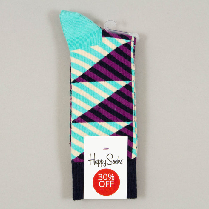 Diagonal Stripe Socks in TURQUOISE & PURPLE