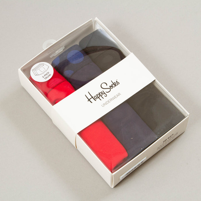 3-Pack Solid Trunks in RED, NAVY & BLACKHAPPY SOCKS - CACTWS