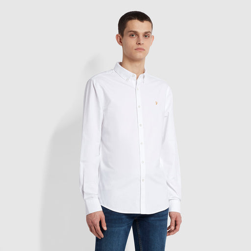 FARAH Brewer Slim Fit Organic Cotton Oxford Shirt in WHITE