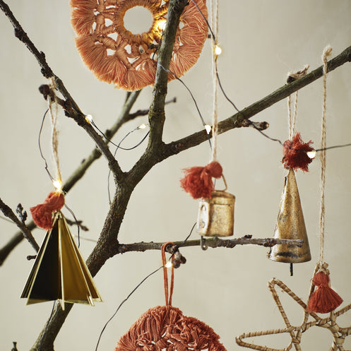 Antique Gold  Metal Hanging Christmas Tree - 7cm