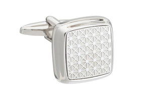 Grid patterned soft square cufflinks by Elizabeth Parker