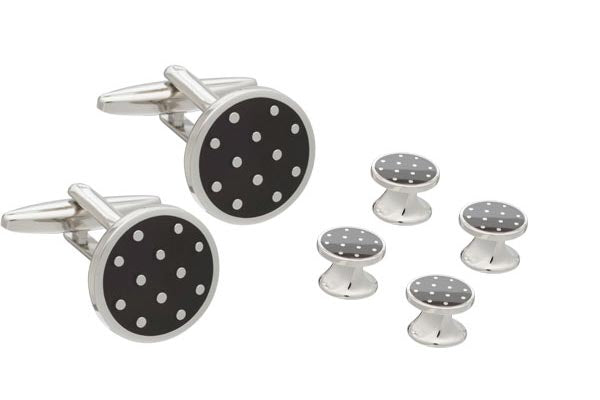 Black Enamel Polka Dot Cufflinks and Dress Stud Set By Elizabeth Parker