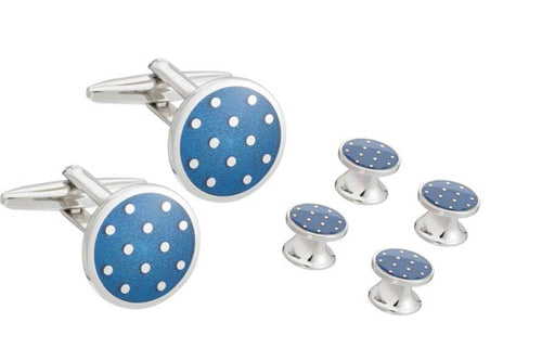 Blue Enamel Polka Dot Round Cufflinks and Dress Studs Set by Elizabeth Parker