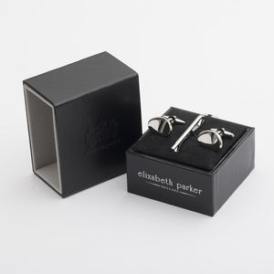 Smooth Metal Cufflinks and Tie Slide Gift Set