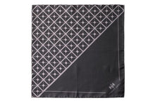 Load image into Gallery viewer, Diagonal Square Black and Grey Silk Pocket Square By Elizabeth Parker