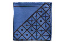 Load image into Gallery viewer, Diagonal Square Black and Navy Silk Pocket Square By Elizabeth Parker