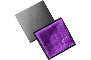 Check Grid Purple Silk Pocket Square in gift box by Elizabeth Parker