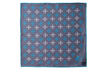 Load image into Gallery viewer, Teal Revolving Knot Silk Pocket Square by Elizabeth Parker