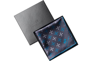 Teal Revolving Knot Silk Pocket Square by Elizabeth Parker in gift box