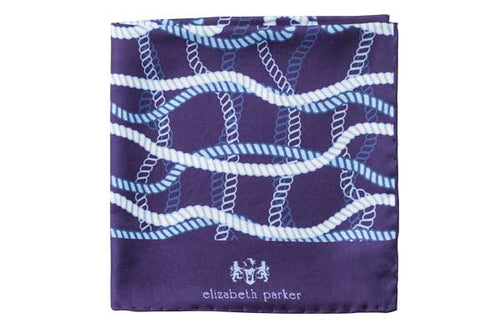 Blue and White Rope Twist Silk Pocket Square By Elizabeth Parker