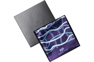 Blue and White Rope Twist Silk Pocket Square By Elizabeth Parker in gift box