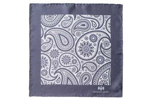 Paisley Swirl Silk Pocket Square Light and Dark Grey by Elizabeth Parker