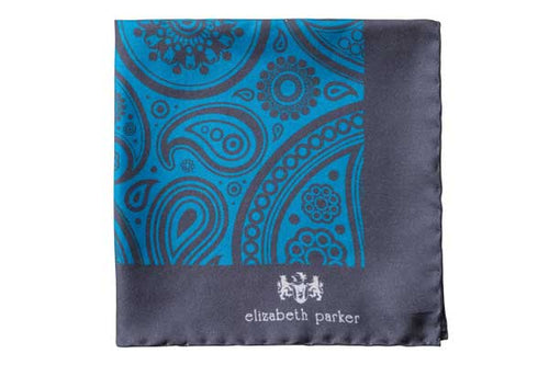 Paisley Swirl Silk Pocket Square Teal and Grey by Elizabeth Parker