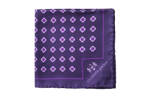 Purple Daisy Do Silk Pocket Square by Elizabeth Parker