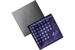 Blue Daisy Do Silk Pocket Square by Elizabeth Parker in gift box