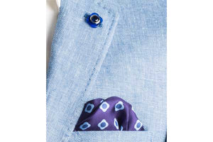 Blue Daisy Do Silk Pocket Square by Elizabeth Parker in jacket pocket