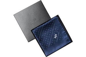 Navy Multi Dotty Silk Pocket Square by Elizabeth Parker in gift box