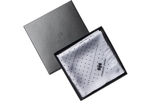 Grey Multi Dotty Silk Pocket Square in Gift Box By Elizabeth Parker