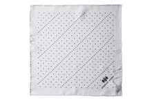 Load image into Gallery viewer, Grey Multi Dotty Silk Pocket Square By Elizabeth Parker