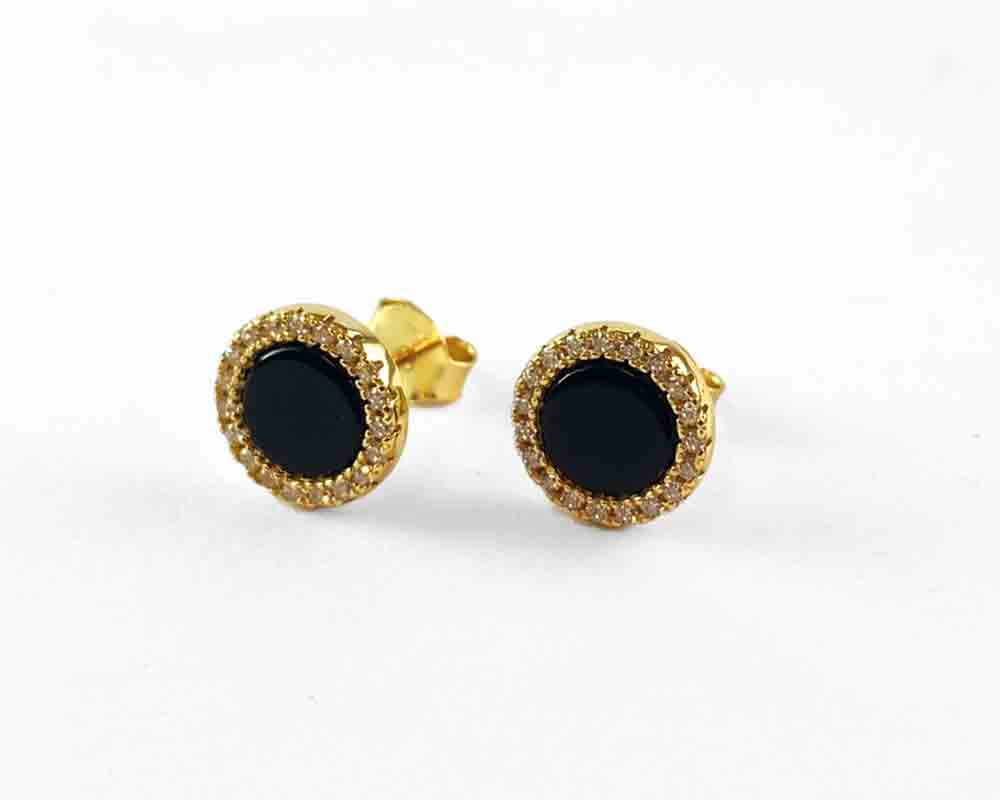 Black Onix Gold Stud Earrings