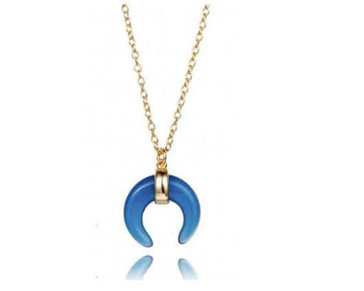 Blue Horn Necklace Gold