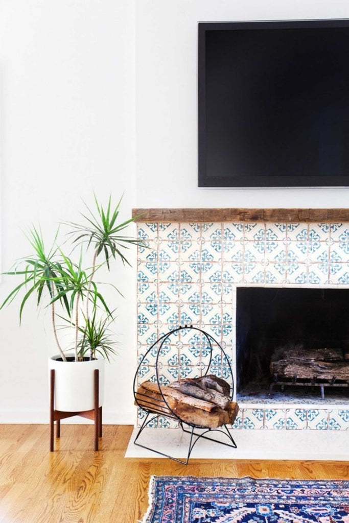 eclectic fireplace with tiles