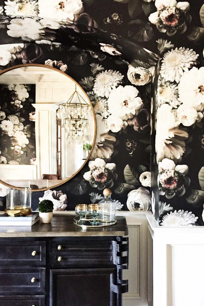 dramatic floral wallpaper bathroom with gold accents