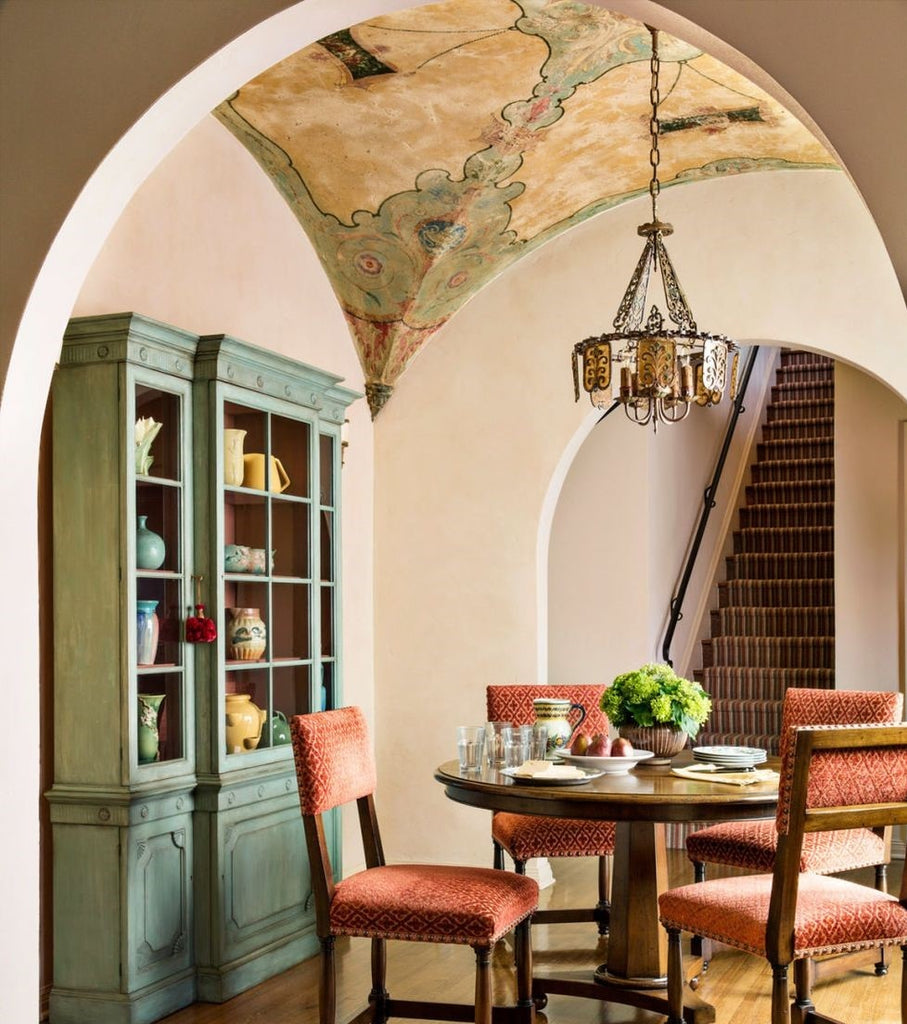vaulted dining room ceiling with painted map
