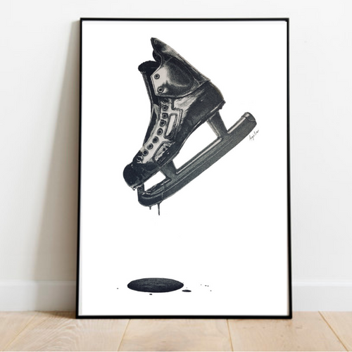 Hockey Skate Art Print-Pen and ink-Brush Point Studio