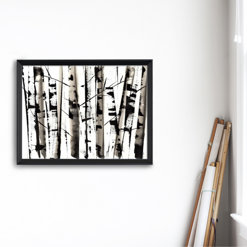 Abstract Silver Birch Trees Version 1-Print-Brush Point Studio