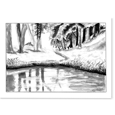 Nordic Log Cabin Art Print-Pen and ink-Brush Point Studio