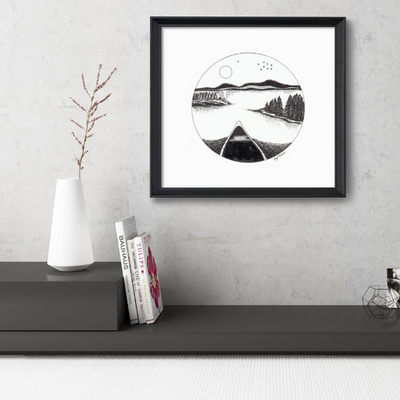 Canoe Cameo Art Print-Pen and ink-Brush Point Studio