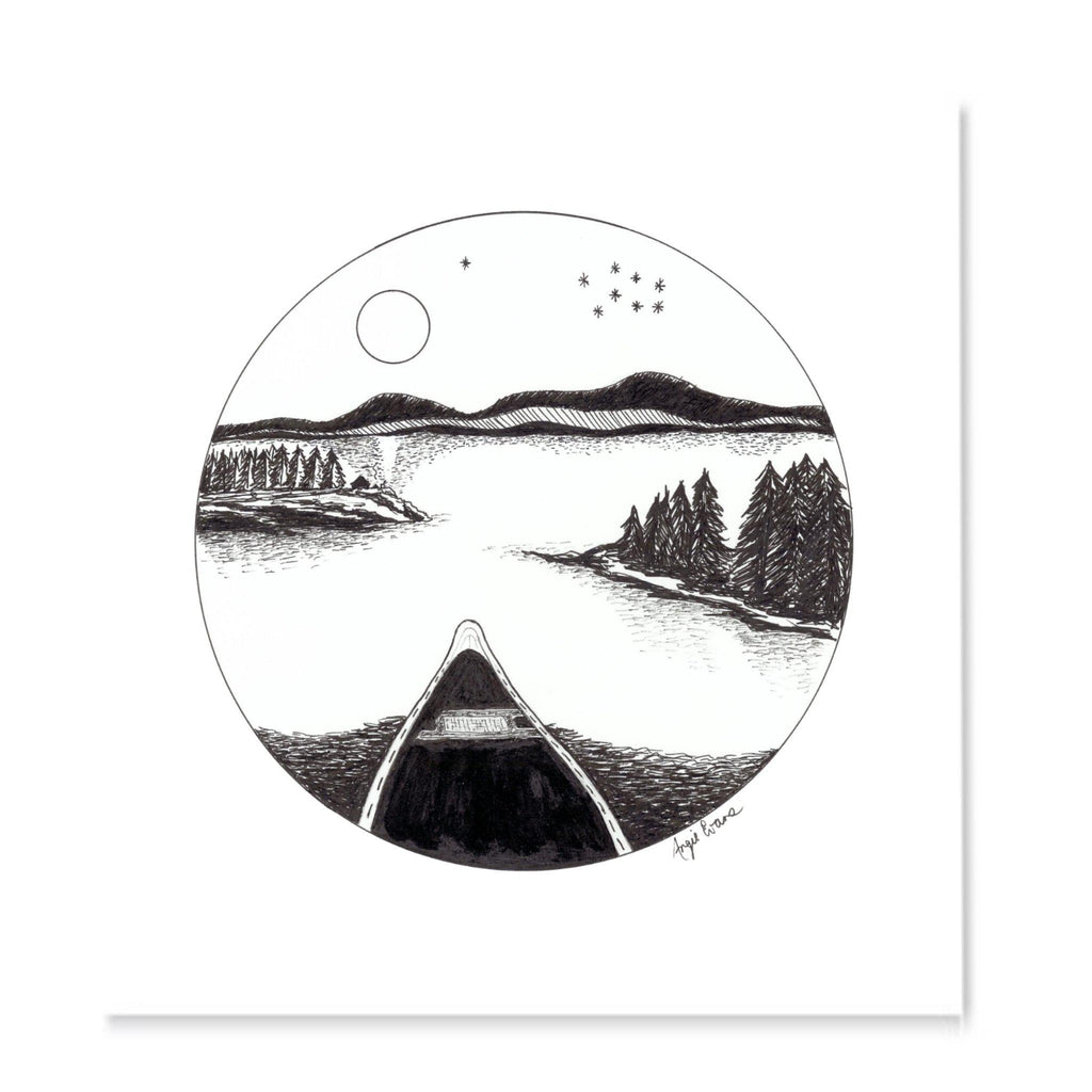 Black And White Pen Drawing A Calm Lake At Night With Canoe Trees Drawn