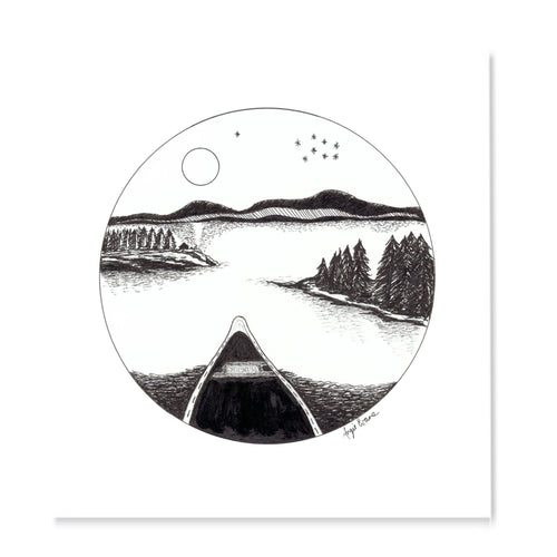 Black and white pen drawing a calm lake at night with canoe and trees, drawn with in a circle.
