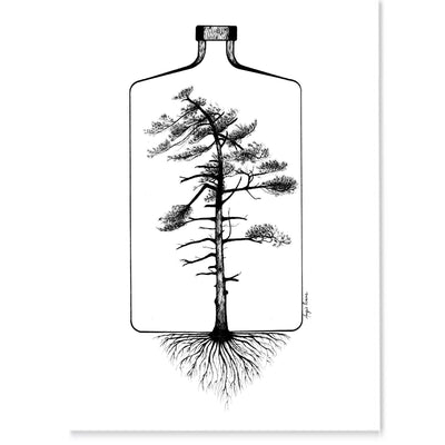 Nordic Tree Art, ink drawing of a tree in a bottle.