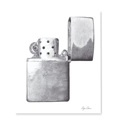 Old Zippo Art Print-Pen and ink-Brush Point Studio