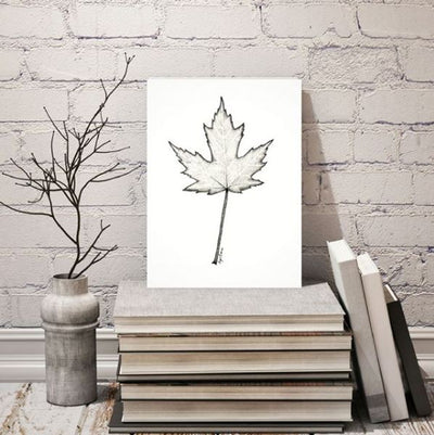 Maple Leaf Art Print, in black and white Pointillism style.