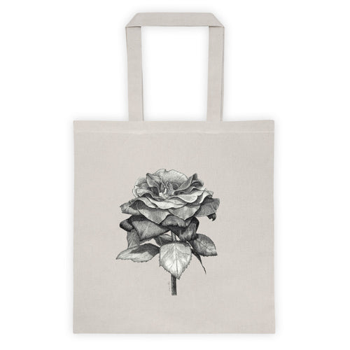 Beige tote bag with black and white print of a beautiful rose in full bloom.
