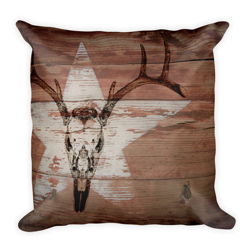 Background of brown boards and a white star with a deer skull image over top.