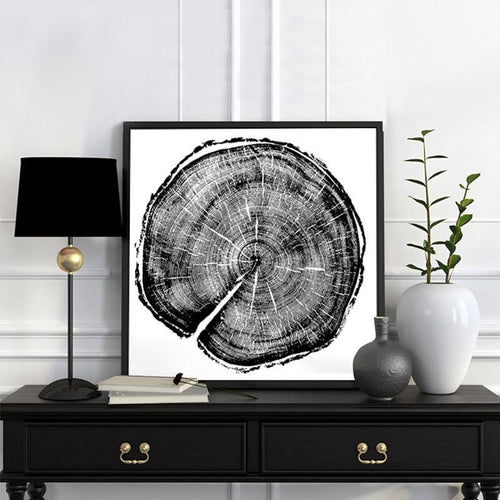 Black and white art print of the growth rings of trees. Four different ones to choose from.