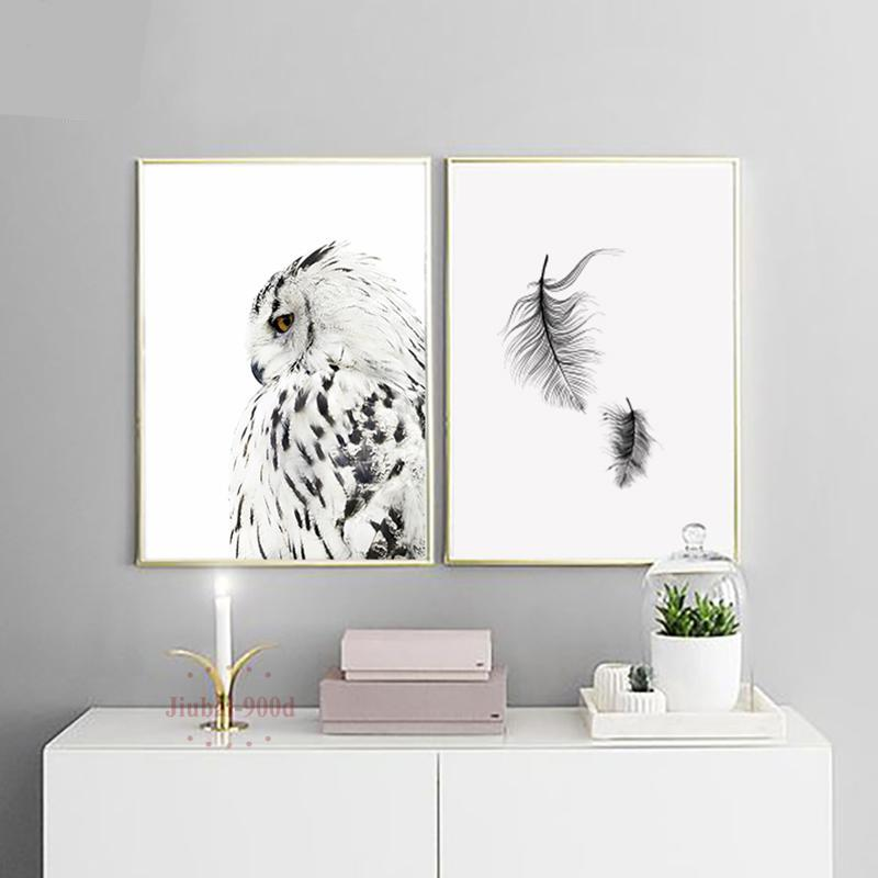 Nordic Snowy Owl and Feather Print-Brush Point Studio