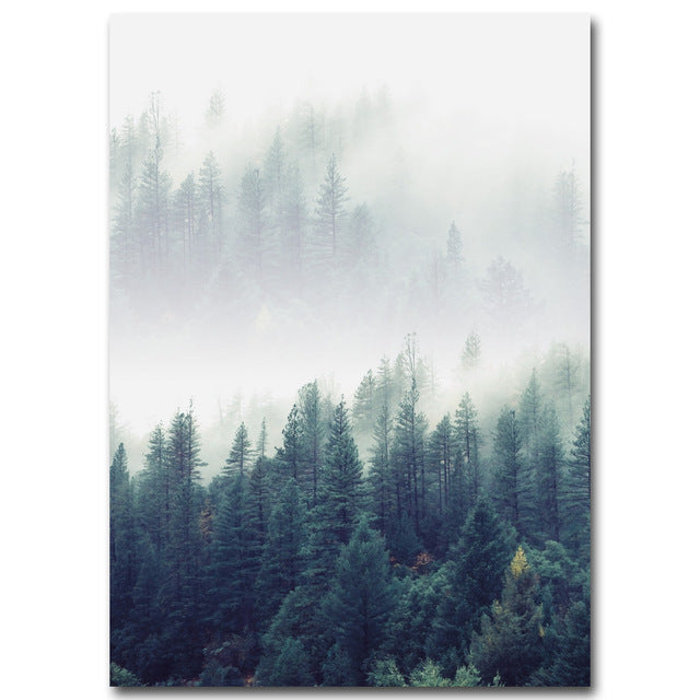 Nordic Forest Landscape Canvas Poster Print-Brush Point Studio