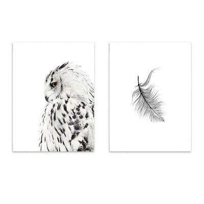 Nordic Snowy Owl and Feather Print