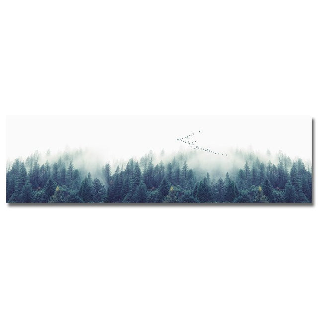 Print of a foggy forest with trees in foreground and fading into mist.  Some birds flying over.