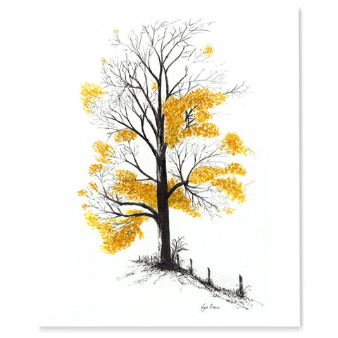 Maple tree in late fall with dark black bark and bright orange/yellow leaves, watercolor.