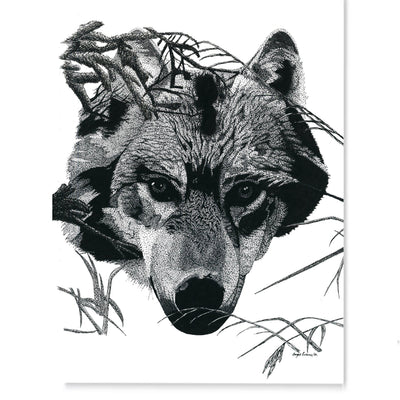 Patience of the Wolf Art Print-Pen and ink-Brush Point Studio