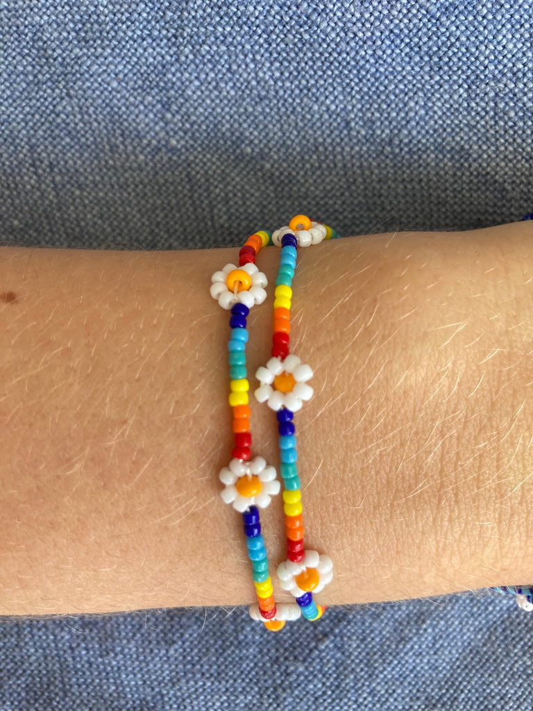 Rainbow Daisy Friendship Bracelet